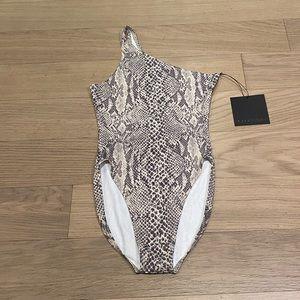 Norma Kamali 1Shoulder Python Bathing Suit NWT XS